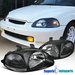 For 1996 1998 Honda Civic Jdm Black Headlights Head Lamps W Clear Reflector