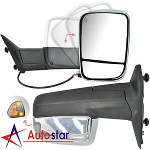 Chrome Power Heated Towing Mirrors Set For 09 15 Dodge Ram 1500 2500 3500 Pickup