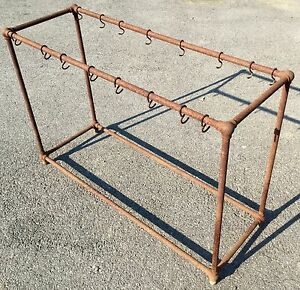 Old Vtg Industrial Iron Pipe 16 Hook Rack Footed Hanger Stand Bar Table Base