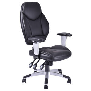 Modern Pu Leather High Back Executive Computer Desk Task Office Chair Black New