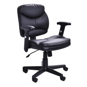 Executive Pu Leather Office Chair Mid back Modern Computer Desk Task Black New