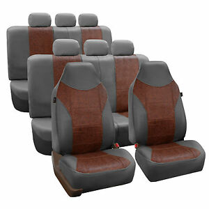 Leather Suv Van 3row Seat Covers Brown Gray For Sedan Suv Van
