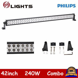 42inch 240w Led Light Bar Spot Flood Driving Atv Ute Suv Offroad Fits For Jeep