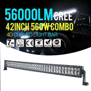44 560w 42inch Curved Led Light Bar Cree Flood Spot Combo Offroad 4wd Truck N6