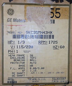 Ge 5kc35mn43 1 3 Hp 115 230 Volts 1725 Rpm 1 Phase Motor