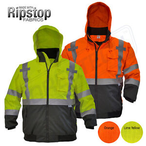 Hi vis Insulated Safety Bomber Reflective Jacket Coat Road Work High Jorestech