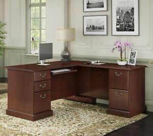 Cherry Brown Corner Desk Executive Desks L shaped Home Office Furniture Bush New