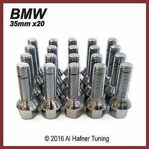 Bmw 35mm Silver Extended Wheel Lug Bolts 12x1 5 Set Of 20