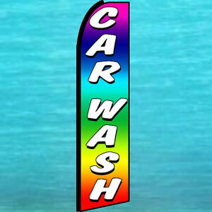Car Wash Swooper Flag Tall Curved Top Flutter Advertising Sign Feather Banner