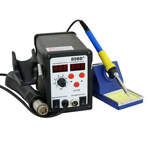 2in1 898d Smd Soldering Iron Hot Air Gun Rework Station Dc Power Supply Digital