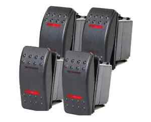 4 Pcs Marine Boat Trailer Rocker Switch On off on Spdt 4 Pin 2 Red Led Rv