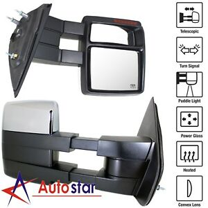 Chrome Towing Power Heated Signal Puddle Pair Mirrors For 07 14 Ford F150 Pickup