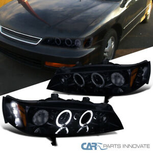 Glossy Black Fit 94 97 Honda Accord Led Halo Projector Headlights Head Lamps