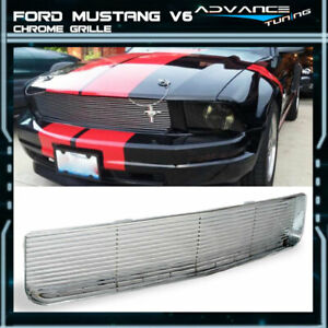 Fits 05 09 Ford Mustang V6 Hood Grille Bumper Grill 1pc Chrome Brand New