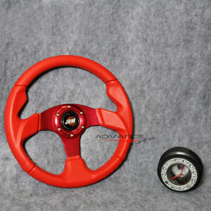 320mm 32cm Steering Wheel Red Pvc Leather 6 Bolts Hub Adapter Jdm Horn