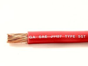 2 Gauge Copper Battery Cable Red Sae J1127 Sgt Automotive Power Wire 25 Ft
