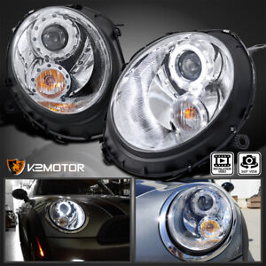 For 2007 2013 Mini Cooper S Clear Led Halo Projector Headlights Signal Lamps L r