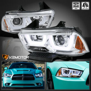 2011 2014 Dodge Charger Clear Dual Halo Led Drl Strip Projector Headlights Pair