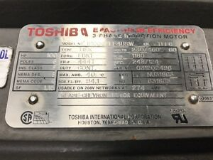 Toshiba Epact High Efficiency B100gflf4usw 100hp 1180rpm 444t Electric Motor