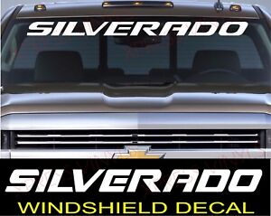 Chevrolet Silverado Windshield Graphic Vinyl Decal Sticker Vehicle Logo White
