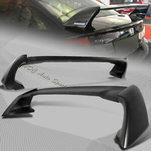 For 2012 2015 Honda Civic 4 Dr Mug Style Unpainted Black Rear Trunk Spoiler Wing