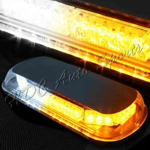 34 Led White Amber Roof Top Emergency Hazard Warning Flash Strobe Light Bar