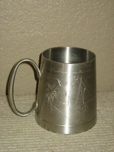 Selangor Polished Silver Pewter Mug Stein Cup Tankard Etched Sailboat Palm Tree