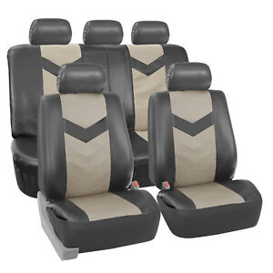 Faux Synthetic Leather Car Seat Covers For Auto Universal Fit 2 Tone Gray