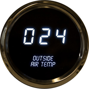 Digital Outside Air Temperature Gauge W Sender White Leds Chrome Bezel Warranty