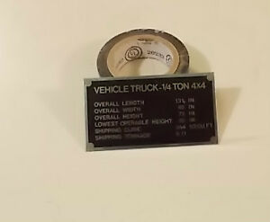 Jeep Willys Mil Data Plate Vehicle Truck 4 X 4 Truck Deminsions New