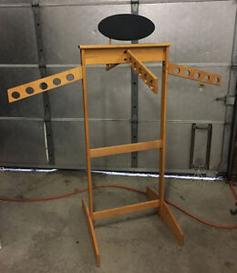 Conde Rack Store Display 4 way Arms Casters solid Maple