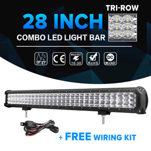 Tri row 28inch 900w Cree Led Light Bar Spot Flood Offroad Atv Suv Ute 4x4wd 30