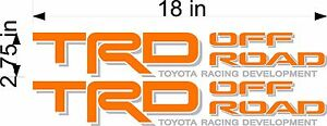 Toyota Trd Off Road Pair Orange Vinyl Truck Bed Replacement Decal Stickers