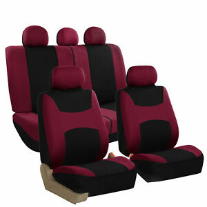 Car Seat Covers Burgundy Full Set For Auto Suv Van W 5headrests