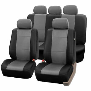 Complete Set Synthetic Leather Car Seat Covers For Auto Gray Black W 5 Headrests