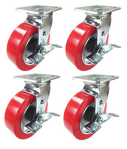 6 X 2 Aluminum Wheel Casters 4 Swivels With Brakes
