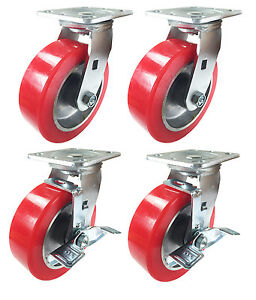 6 X 2 Aluminum Wheel Casters 2 Swivels And 2 Swivels With Brake