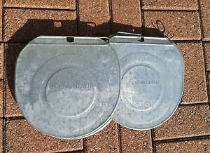 5 Old Grimm Galvanized Sap Bucket Covers Lids Maple Syrup Very Nice Need More
