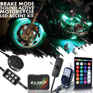 Motorcycle Led Neon Under Glow Rgb 12 Pod Lighting Kit For Harley Davidson Music
