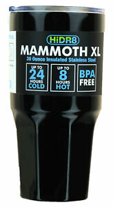 Mammoth XL 30 oz Tumbler by HiDR8 Cold for 24 Hours (Stainless Steel or Black)