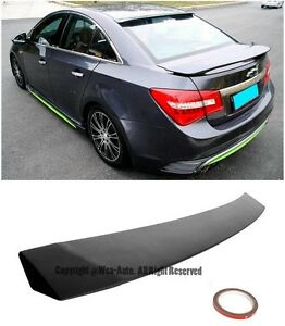 For 11 15 Chevrolet Cruze Sedan Black Primer Finish Rear Roof Spoiler Wing Lip