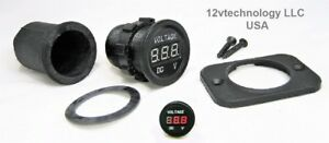 Industrial Grade Waterproof 12v Red Voltmeter Boot Digital Chargers Volt Meter