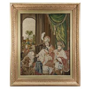 Antique Victorian Era Fine Needlepoint Tapestry In Elegant Frame King