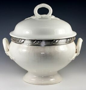 Antique French Faience Soup Tureen With Sterling Silver Collar White Pottery