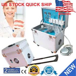 Dental Portable Delivery Unit Rolling Case curing Light ultrasonic Scaler 4hole