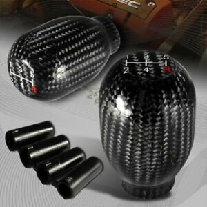 Universal Real Carbon Fiber Type R Manual Throw 5 Speed Gear Shift Shifter Knob