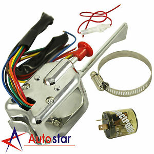 12v Universal Street Chrome Hot Rod Turn Signal Switch For Ford Gm With Flasher