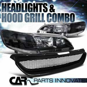 For 1998 2002 Honda Accord 2dr Coupe Black Headlight abs Type Mesh Hood Grille R
