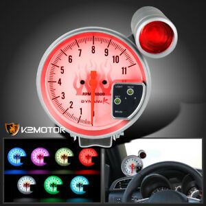 5 Jdm 7 Led Shift Light White Face 11k Rpm Tachometer Tach Gauge Set
