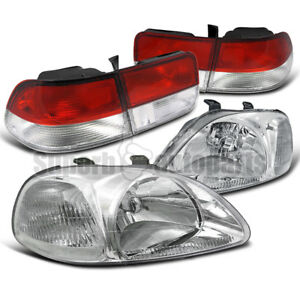 For 1996 1998 Honda Civic 2dr Headlights Chrome Tail Lamps Red Clear